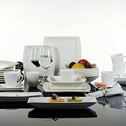 Malacasa, Serie Blance, 32-teilig Kombiservice Porzellan Eckig Geschirrset in Klassischem Design mit je 6 Kaffeetassen 180ml, 6 Untertassen, 6 Dessertteller, 6 Tiefteller, 6 Flachteller, 1 Rechteckige Platte und 1 2-Speisefächer