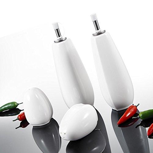 Malacasa, Serie Elvira, 4-teilig Cremeweiß Porzellan Öl Essig Spender Salzstreuer Pfefferstreuer Essig-/Ölspender Set