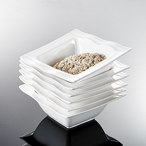 Malacasa, Serie Mario, 6 tlg. Set Cremeweiß Porzellan 5,5 Zoll / 14*14*5,5cm Schüssel Schalen Müslischüssel Reisschüssel Salatschüsseln Dessertschalen Bowl für 6 Personen
