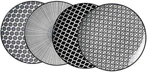Ritzenhoff & Breker Dessertteller-Set Takeo, 4-teilig, 22 cm Durchmesser, Porzellangeschirr, weiß/schwarz