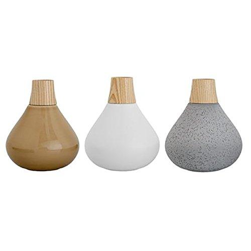 Bloomingville Vasen-Set - Matte White/Grey/Glossy Beige - 3 Stück - Ø10xH12 cm