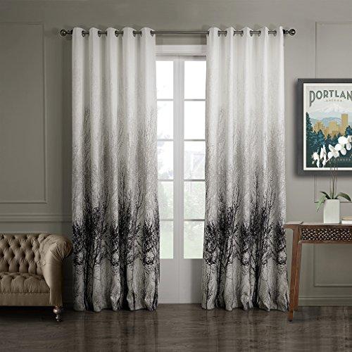 GWELL Elegant Baumblatt Druck Vorhang Blickdicht Schal mit Ösen TOP QUALITÄT Gardine für Wohnzimmer Schlafzimmer grau cream 1er-Pack 160x100cm