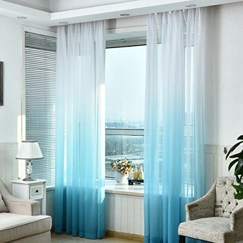 Hoomall Transparenter Ösenvorhang Farbverläufen Gardinen für Schlafzimmer Kinderzimmer Ösenschal Voile Dekoschal Gardine B*H 140*245cm 1er set Blau