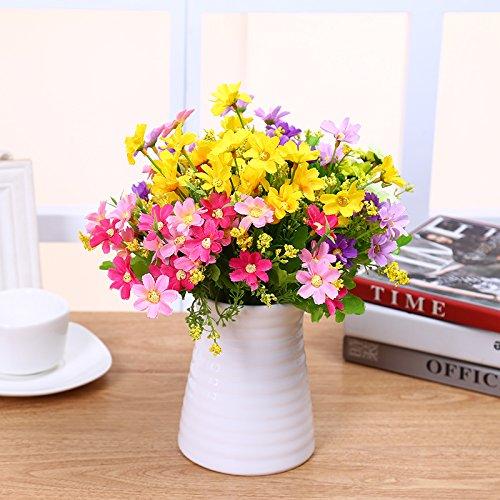 Maivas Keramik Ornamente Dekoration Vase Moderne,Einfache Weiße Runde Matt Gestreift Home,Wasser Welligkeit Vase +4 Bündel Von Chrysantheme