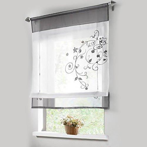Stickblume Gardine Raffgardinen mit 4 Farben und 4 Groessen Vorhang BxH 100cmx140cm Grau