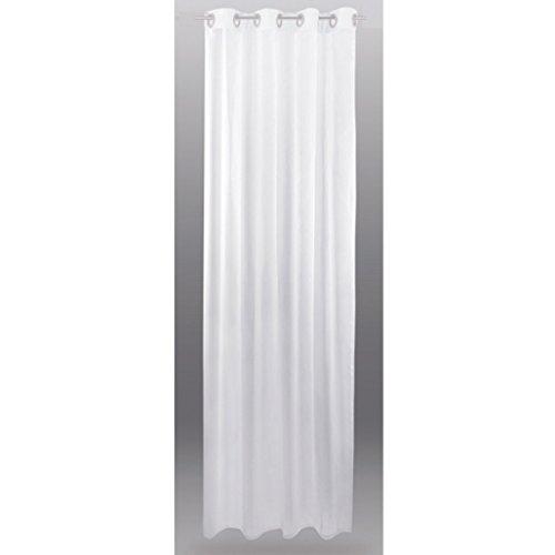 Gardine mit Ösen, Transparent Voile 140 x 145cm ( Breite x Länge ) in weiß - reinweiß, Ösenschal in vielen weiteren Farben und Größen