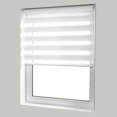 casa pura® Doppelrollo Day & Night mit Doppelfunktion - tageslichtdurchlässig und verdunkelnd - in 8 Größen | Weiß | 70x150cm