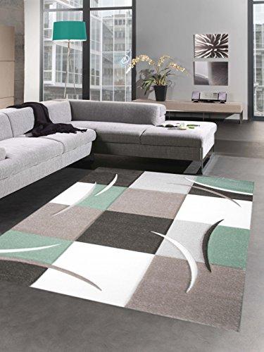 Designer Teppich Wohnzimmerteppich Karo Pastell mint grün ceme braun Größe 200 x 290 cm