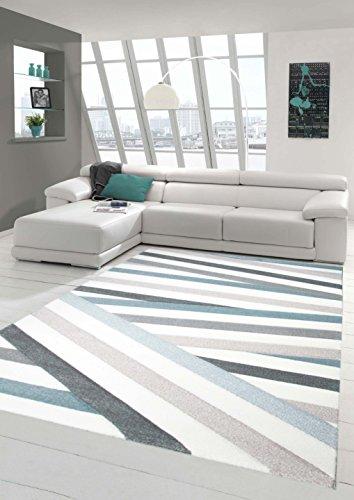 Teppich-Traum Designerteppich Moderner Teppich Wohnzimmerteppich Kurzflor Teppich mit Konturenschnitt Gestreift Grau Blau Weiß, Größe 160x20 cm