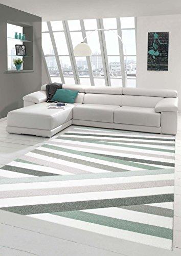 Teppich-Traum Designerteppich Moderner Teppich Wohnzimmerteppich Kurzflor Teppich mit Konturenschnitt Gestreift Pastellfarben Grün Grau Weiß, Größe 160x230 cm