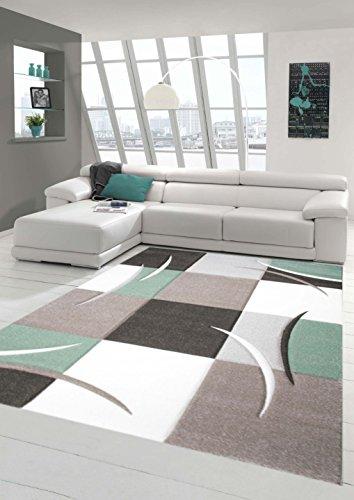 Teppich-Traum Designerteppich Moderner Teppich Wohnzimmerteppich Kurzflor Teppich mit Konturenschnitt Karo Muster Grau Grün Weiß, Größe 160x230 cm