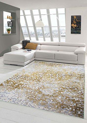 Teppich-Traum Designerteppich Moderner Teppich Wohnzimmerteppich Kurzflor mit Konturenschnitt Kariert in Grau Gelb Weiß, Größe 120x170 cm