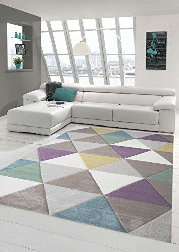 Teppich-Traum Designerteppich Moderner Teppich für Wohnzimmer Kurzflor Teppich mit Konturenschnitt Dreieck in Lila Beige Grau, Größe 120x170 cm