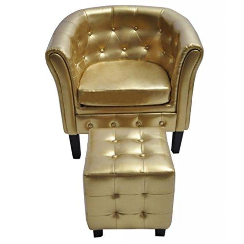 vidaXL Edle Chesterfield Edler Sessel Lounge Couch Sofa mit Sitzhocker Wohnzimmer GOLD