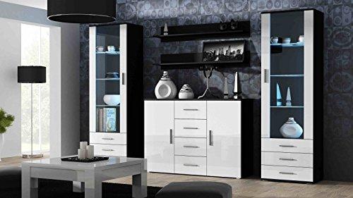 Wohnwand 'Soho III' Hochglanz Wohzimmermöbel Vitrinen Lowboard , Farbe:Schwarz / Weiß