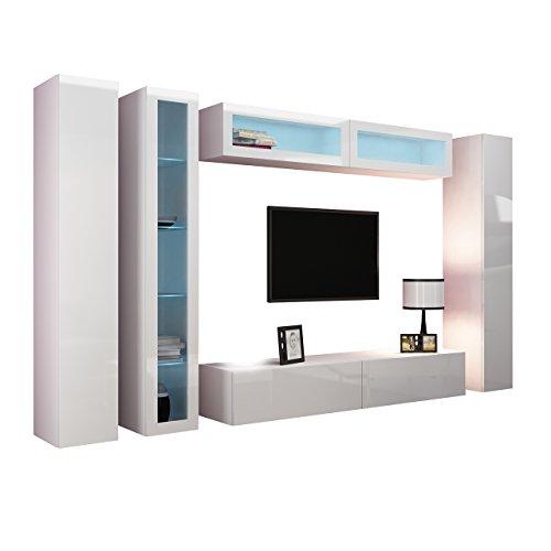 Wohnwand VIGO VI Anbauwand Modernes Wohnzimmer set, Mediawand, Glasvitrine, Hängeschrank TV-Schrank (mit weißer LED Beleuchtung, Weiß / Weiß Hochglanz)