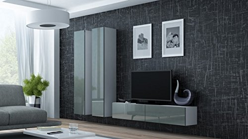 Wohnwand ' Vigo 9' Hochglanz Hängeschrank Lowboard , Farbe:Weiß . Grau