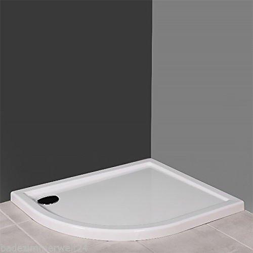 AQUABAD®Duschwanne/Duschtasse Superflach Viertelkreis Asymmetrisch 85x120x5,5 cm R=55 cm Links Version