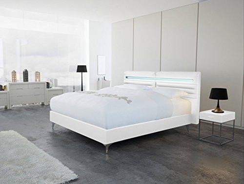 SAM® Design Boxspringbett Almeria Lima weiß mit Bonellfederkern in Massiv-Holz-Rahmen,Chrom-Füßen und LED-Beleuchtung 140 x 200 cm