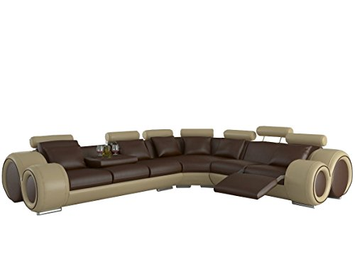 JVmoebel LEDERSOFA DESIGN ECKSOFA BERLIN MIT RELAXFUNKTION, Grau/Weiß, 310x270 oder 270x310, Leder