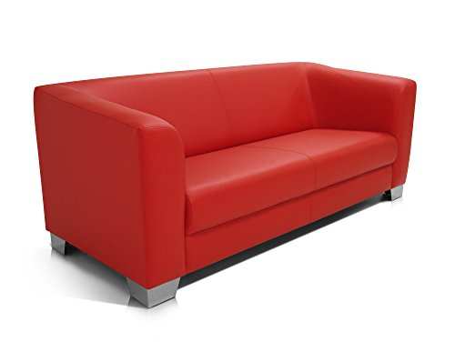 CHICAGO 3er Sofa / Ledersofa, rot