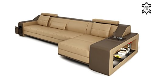 Design Ledersofa Couch Leder Sofa Wohnlandschaft Ecksofa Ledercouch Eckcouch L-Form mit LED-Licht Beleuchtung EMPORIO III