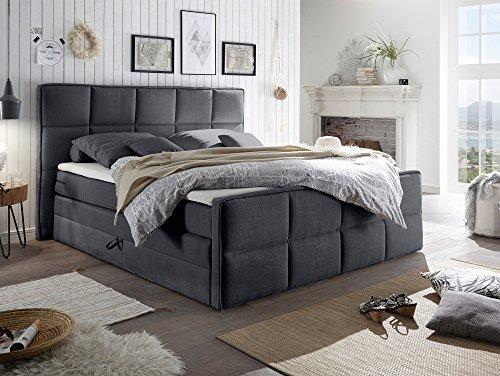 ALAN Boxspringbett/Doppelbett mit Bettkasten, grau