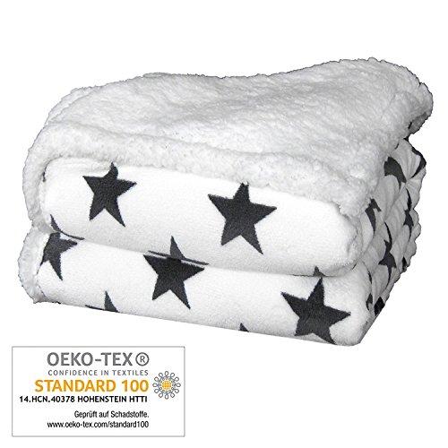 Delindo Lifestyle® Wohndecke VARIUS STERNE WEIß / Microfaser Coral-Fleece-Decke in 150x200 cm / flauschig weiche Kuscheldecke mit Lammfelloptik für Erwachsene und Kinder