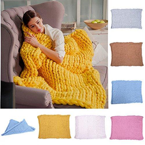 Fastar Strick-Kuscheldecke, handgefertigt, dick gestrickt, Decke für Schlafzimmer, Wohnzimmer