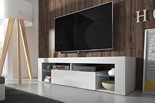 Hestia – TV Lowboard / TV Schrank (140 cm, Weiß Matt / Weiß Hochglanz, optional mit LED-Beleuchtung)