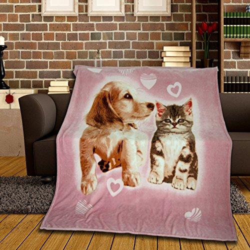 Kuschledecke für Kinder 150x200 cm mit Fotodruck Hund & Katze aus 100% Silk Touch Polyester tolle Kinderdecke für Mädchen in Rosa