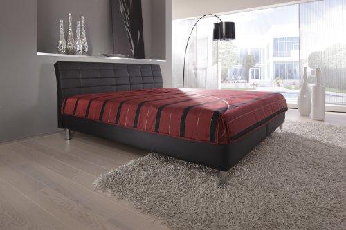 Modern Living -( KT4 ) Polsterbett. Es steht bodenfrei auf ca. 10 cm hohen Chromfüßen. Mit Bettkasten. Ausführung B: Lose aufliegende 7-Zonen-Kaltschaummatratze(Härtegrad 2). Größe: 180x200 cm