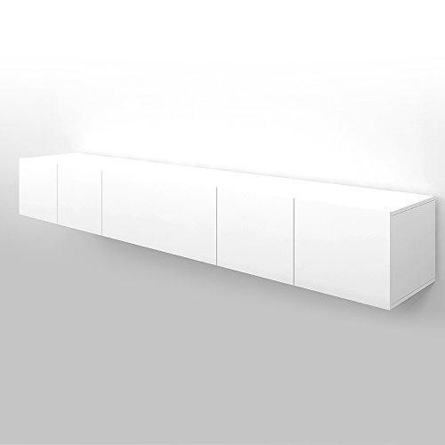 VICCO TV Lowboard Sideboard Wandschrank Fernsehschrank Wohnwand Hängeschrank (Weiß Matt, 240cm)