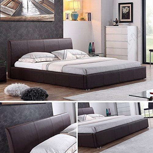 i-flair Designer Polsterbett, Bett MONACO 140cm x 200cm braun - alle Farben & Größen