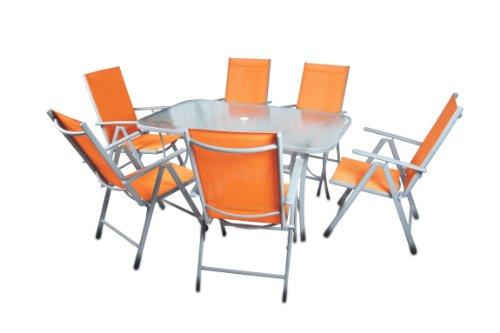Nexos 7-teiliges Gartenmöbel-Set – Gartengarnitur Sitzgruppe Sitzgarnitur aus Gartenstühlen & Esstisch (Glasplatte: klar) – Aluminium Kunststoff Glas – orange