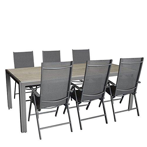 7tlg. Gartengarnitur, Aluminium Gartentisch mit Polywood-Tischplatte Grau 205x90cm + 6x Aluminium-Hochlehner mit Textilenbespannung, 7-fach verstellbar, klappbar, anthrazit / Sitzgruppe Sitzgarnitur Gartenmöbel Terrassenmöbel