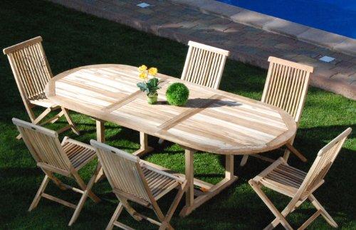 SAM 7 teilig Gartengruppe Menorca, Teak Holz bestehend aus 6x Klappstühle + 1x Auszugstisch, zusammenklappbare Stühle