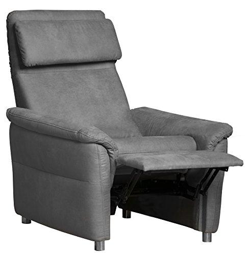 Cavadore Sessel Chalsay inkl. verstellbarem Kopfteil und Relaxfunktion / mit Federkern / moderner Fernsehsessel für Heimkino / Größe: 90 x 94 x 92 cm (BxHxT) / Farbe: Grau (argent)
