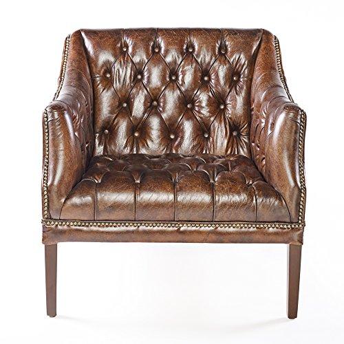 Phoenixarts Chesterfield Ledersessel Braun Vintage Antik Look Sessel Lounge Leder Clubsessel mit Nietenbesatz 464