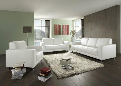 Dreams4Home, Polstergarnitur Polstersofa 'Lugano', 3+2+1-Sitzer, weiß, schwarz