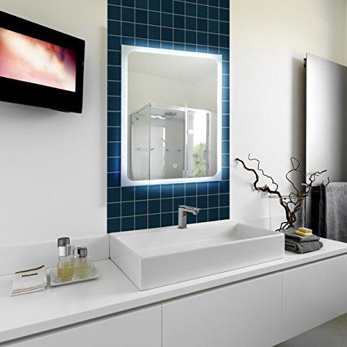 KROLLMANN Badspiegel mit LED-Beleuchtung und Touch Sensor, 50 x 70 cm, 220-240V, Spiegel mit Tageslicht Badezimmerspiegel