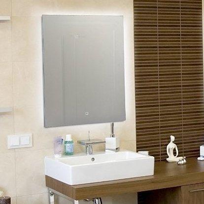 KROLLMANN LED Spiegel mit Touch Sensor, 50x70cm, Badspiegel mit LED-Beleuchtung