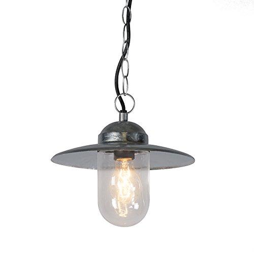 QAZQA Landhaus / Vintage / Rustikal / Retro / Pendelleuchte / Pendellampe / Hängelampe / Lampe / Leuchte Munich zink / Außenbeleuchtung / Wohnzimmer / Schlafzimmer / Küche Glas / Metall / Rund LED gee