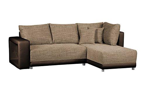 Sofagarnitur in L-Form Corona Bison / Couch ohne Federkern / Ecksofa mit Schlaffunktion und Bettkasten / Mit Strukturstoff und Kunstleder