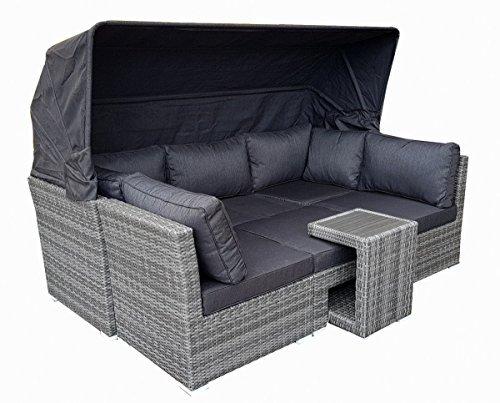 Strandkorb Lounge Palma Cabrio Sofa Alu Geflecht 5tlg. grey