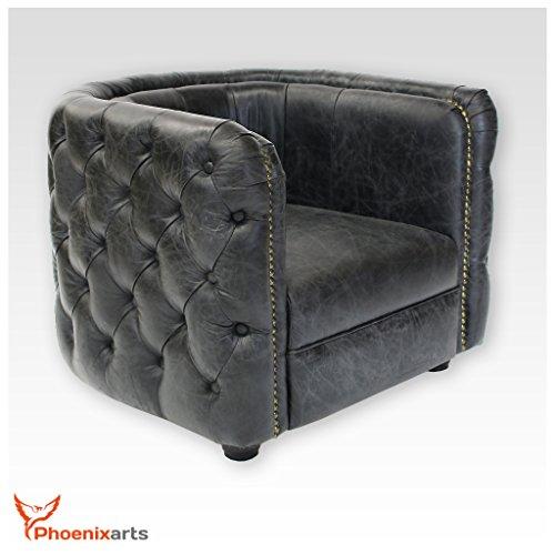 Phoenixarts Vintage Echtleder Chesterfield Ledersessel Schwarz Design Lounge Leder Club Sessel 461