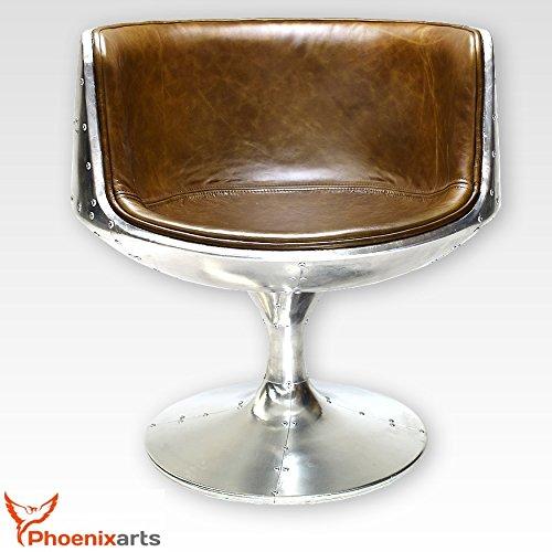 Phoenixarts Vintage Echtleder Schalensessel Design Ledersessel Retro Drehsessel Lounge Sessel Braun