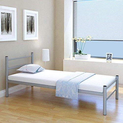 Festnight Einzelbett Bettgestell Metallbett Bett aus Metall ohne Matratze 90x200 cm Grau