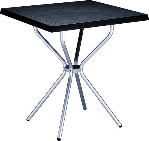 CLP Garten Bistro-Tisch SORTHIE, quadratisch 70 x 70 cm, Esstisch Höhe 72 cm, Kunststoff/Aluminium, wetterfest, 4 Personen, ideal für den Balkon & Camping