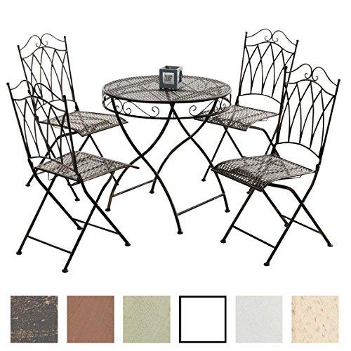 CLP Garten-Sitzgruppe LUNIS aus lackiertem Eisen | Garten-Set bestehend aus einem Eisentisch und vier Eisenstühlen | Antike Gartenmöbel im Jugendstil | In verschiedenen Farben erhältlich